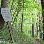A sign along Lower Ridge Trail designating passage into the Southern Nantahala Wilderness.