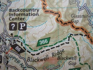 Long Branch Trail is 86 the AT is the dotted line hi-lited orange. (Trails Illustrated Map, National Geographic)