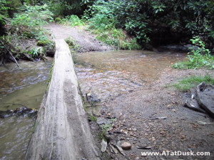 Stream crossing with log bridge.