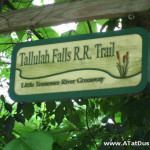 Greenway sign for the historic Tallulah Falls Rail Road.