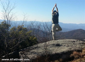 Doing Tree Pose on top of Whiterock Mountain.