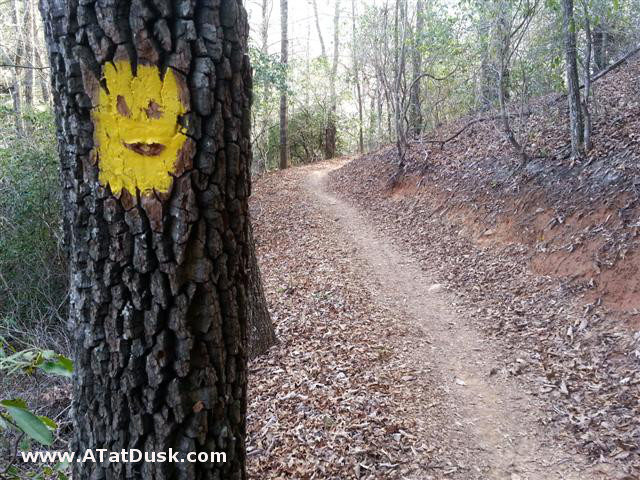 A happy trail blaze found along the Cullowhee Connector trail at Western Carolina University.