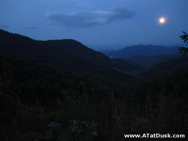 A beautiful harvest moon rising over Winding Stair Gap.