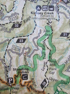 A map showing Kimsey Creek Trail, the Appalachian Trail and Lower Ridge Trail.