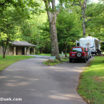 RV site at Standing Indian Campground